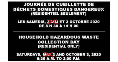**CANCELLED** HOUSEHOLD HAZARDOUS WASTE COLLECTION DAY